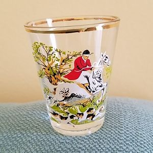 VINTAGE Shot Glass Made in France, Equestrian Hunt
